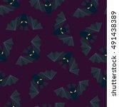 purple bat vector seamless... | Shutterstock .eps vector #491438389