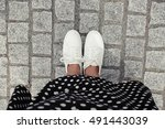 concept picture of legs walking ... | Shutterstock . vector #491443039