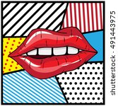 sexy lips popart vector... | Shutterstock .eps vector #491443975