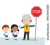 traffic guard and school kids | Shutterstock .eps vector #491454385