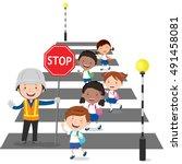 traffic guard helping school... | Shutterstock .eps vector #491458081