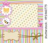 baby shower invitation . cute... | Shutterstock .eps vector #491460775