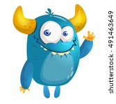 Cartoon Blue Monster. Vector...
