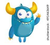 Cartoon Blue Monster. Vector...