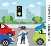 traffic policeman is making a... | Shutterstock .eps vector #491463817