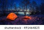 illuminated tent in the winter... | Shutterstock . vector #491464825