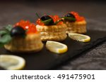 snack with red caviar. | Shutterstock . vector #491475901