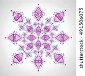 arabesque snowflake design ... | Shutterstock .eps vector #491506075