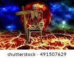 Small photo of 3D skeleton human death hold crosses and darkness