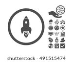 rocket start icon with bonus... | Shutterstock .eps vector #491515474