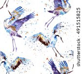 watercolor pattern with flying... | Shutterstock . vector #491515825