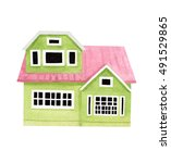 watercolor house | Shutterstock . vector #491529865