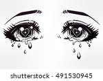 crying beautiful eyes in anime... | Shutterstock .eps vector #491530945