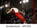Male Gymnast On Rings With...