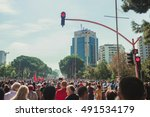 Small photo of TIRANA, ALBANIA - OCTOBER 1, 2016: The protest in the center of the Albanian capital against the import of garbage.