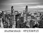chicago skyline   aerial view.... | Shutterstock . vector #491536915