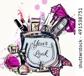 fashion vector background with... | Shutterstock .eps vector #491538751