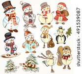 cute christmas collection of... | Shutterstock .eps vector #491539087