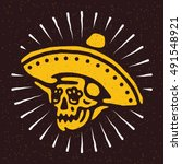 mexican skull in sombrero dia... | Shutterstock .eps vector #491548921