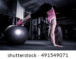 fitness girl working out with...   Shutterstock . vector #491549071