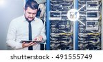 Small photo of IT administrator. Internet service provider, male businessman. Programmer.