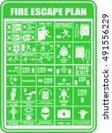 set of symbols for fire escape... | Shutterstock .eps vector #491556229