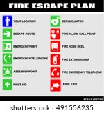 Set Of Symbols For Fire Escape...