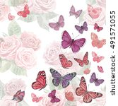 romantic invitation card with... | Shutterstock . vector #491571055