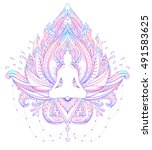 sitting buddha silhouette over... | Shutterstock .eps vector #491583625