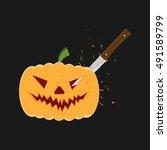 pumpkin head with a knife.... | Shutterstock .eps vector #491589799