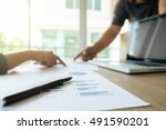 asia business people discussing ... | Shutterstock . vector #491590201