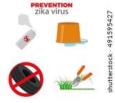 set of zika virus prevention... | Shutterstock .eps vector #491595427