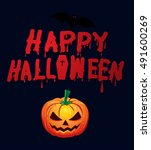 happy halloween pumpkins ... | Shutterstock .eps vector #491600269