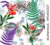 leopard rounds silk scarf... | Shutterstock . vector #491602327