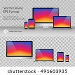 set of realistic computer... | Shutterstock .eps vector #491603935