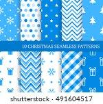 ten blue christmas different... | Shutterstock .eps vector #491604517