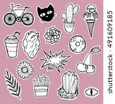 fashion for a girl patch badge. ... | Shutterstock .eps vector #491609185