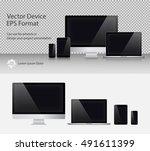 set of realistic computer... | Shutterstock .eps vector #491611399