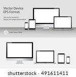 set of realistic computer... | Shutterstock .eps vector #491611411