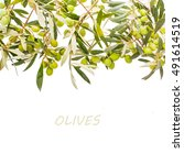 green olives in olive tree... | Shutterstock . vector #491614519