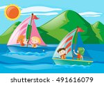 children sailing boats in the... | Shutterstock .eps vector #491616079