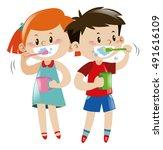 boy and girl brushing teeth... | Shutterstock .eps vector #491616109