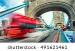 blurred view of bus crossing... | Shutterstock . vector #491621461