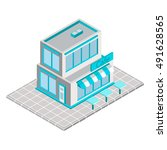 vector isometric cafe. building ... | Shutterstock .eps vector #491628565