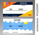kids diploma preschool... | Shutterstock .eps vector #491635009