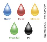 set of five drops. isolated... | Shutterstock .eps vector #491639299