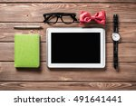 hipster set on wooden table | Shutterstock . vector #491641441
