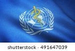 Small photo of Realistic flag of World Health Organization waving with highly detailed fabric texture.