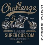 motorcycle t shirt graphic | Shutterstock .eps vector #491650795