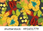 abstract scribbles with yellow... | Shutterstock .eps vector #491651779